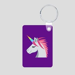 Unicorn Emoji Aluminum Photo Keychain