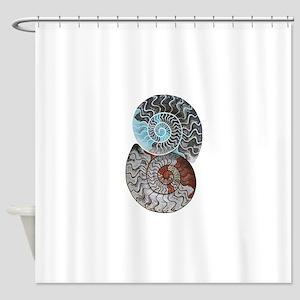 ammonite ying and yang shirt Shower Curtain