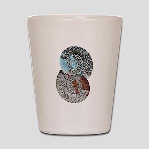 ammonite ying and yang shirt Shot Glass