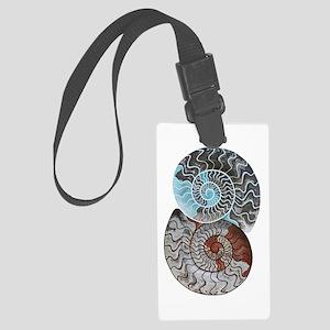 ammonite ying and yang shirt Large Luggage Tag