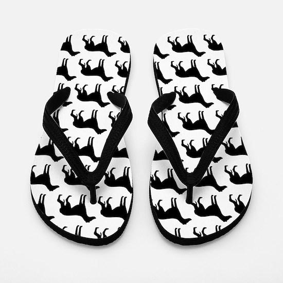 Greyhound Silhouette Flip Flops In Black Flip Flop