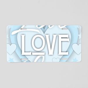 Love - Light Blue Aluminum License Plate