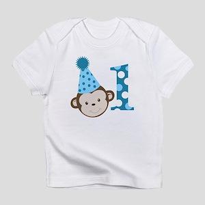 1st Birthday Cute Boy Monkey Blue Infant T-Shirt