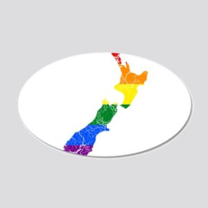 New Zealand Rainbow Pride Flag And Map 20x12 Oval