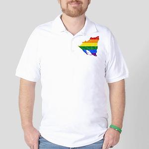Nicaragua Rainbow Pride Flag And Map Golf Shirt