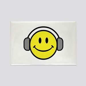 Smiley Face Music Lover Rectangle Magnet