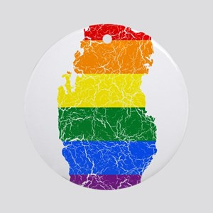 Qatar Rainbow Pride Flag And Map Ornament (Round)