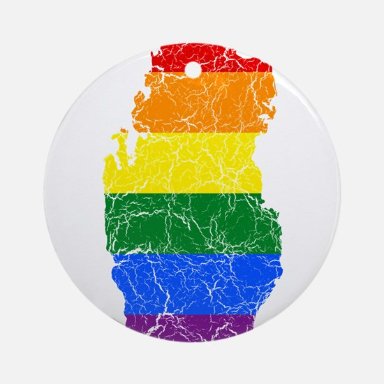 Qatar Rainbow Pride Flag And Map Ornament (Round)