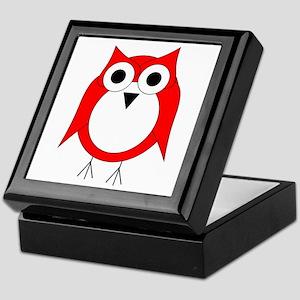 Red And White Owl Keepsake Box