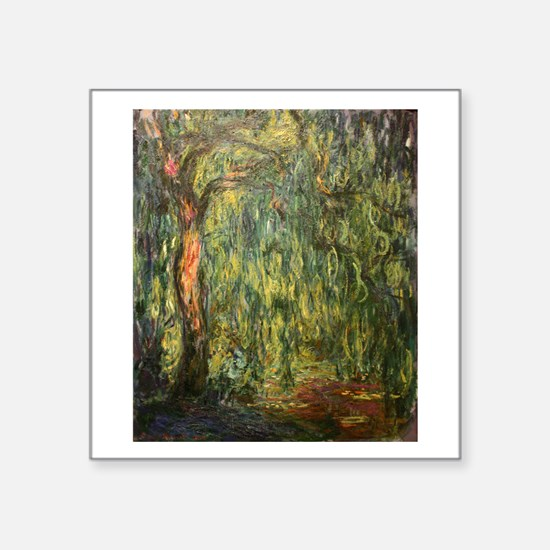 """Claude Monet Weeping Willow Square Sticker 3"""" x 3"""""""