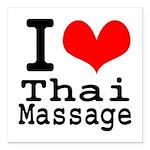 "I love Thai Massage Square Car Magnet 3"" x 3"""