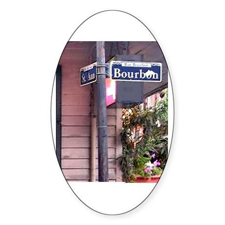 Bourbon Street Sign Oval Sticker