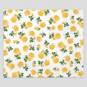 Yellow flowers on white King Duvet