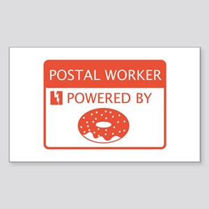 Postal Worker Powered by Doughnuts Sticker (Rectan