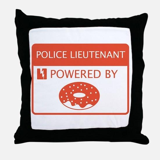 Police Lieutenant Powered by Doughnuts Throw Pillo