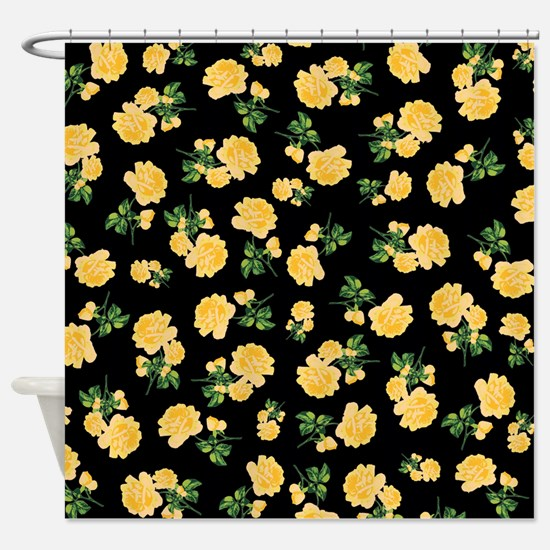 Yellow flowers on black Shower Curtain