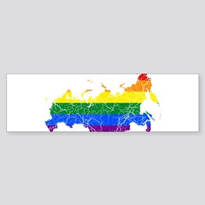 Russia Rainbow Pride Flag And Map Sticker (Bumper)