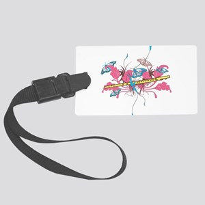 Butterfly Flute Large Luggage Tag