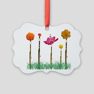 Flute Flowers Picture Ornament