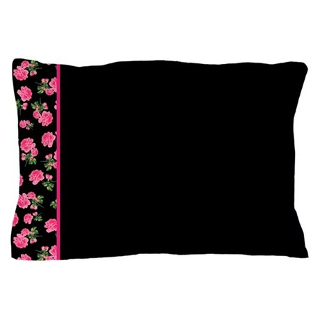 Hot Pink Rose Floral Pattern on White Pillow Case