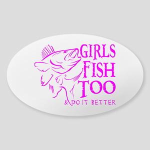 GIRLS FISH TOO WALLEYE Sticker (Oval)