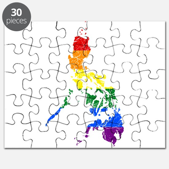 Philippines Rainbow Pride Flag And Map Puzzle