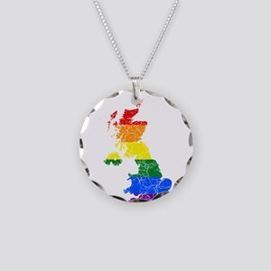 United Kingdom Rainbow Pride Flag And Map Necklace