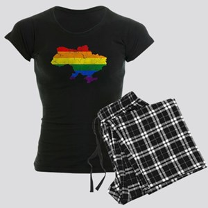 Ukraine Rainbow Pride Flag And Map Women's Dark Pa