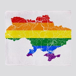 Ukraine Rainbow Pride Flag And Map Throw Blanket