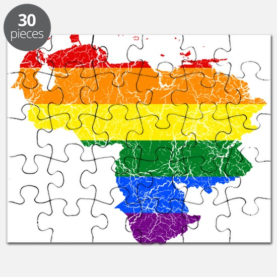 Venezuela Rainbow Pride Flag And Map Puzzle