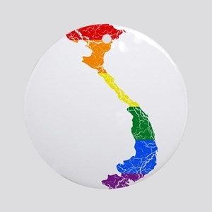 Vietnam Rainbow Pride Flag And Map Ornament (Round