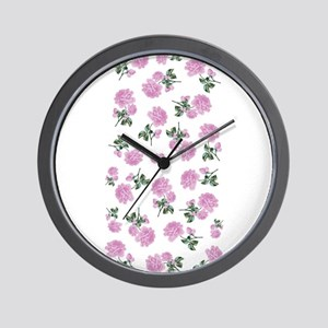 Shabby Chic Pink Floral Wall Clock