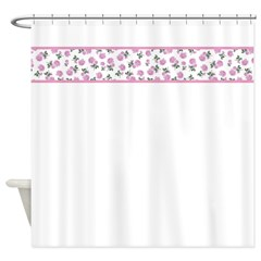 Shabby Chic Pink Floral Shower Curtain