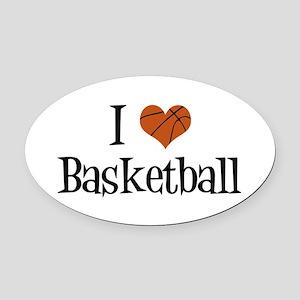 I Heart Basketball Oval Car Magnet