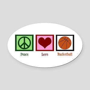 Peace Love Basketball Oval Car Magnet