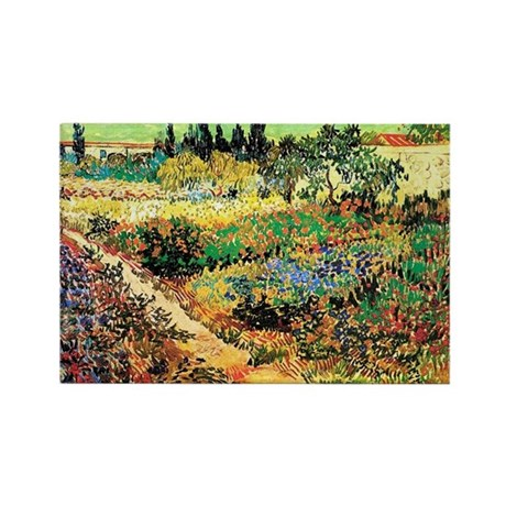 Flowering Garden with Path Rectangle Magnet (100 p