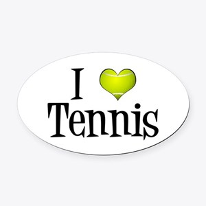 I Heart Tennis Oval Car Magnet