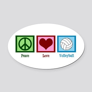 Peace Love Volleyball Oval Car Magnet