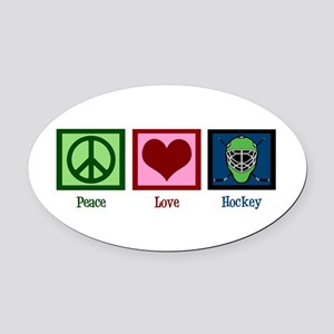 Peace Love Hockey Oval Car Magnet