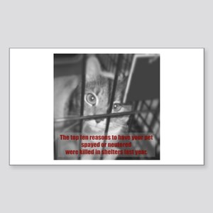 Top Ten Reasons Caged Cat Rectangle Sticker