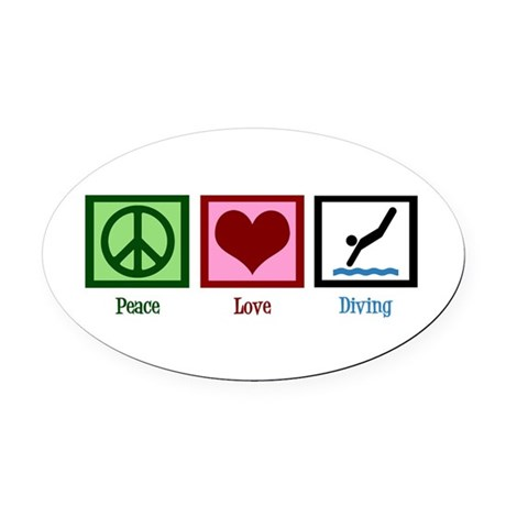 Peace Love Diving Oval Car Magnet