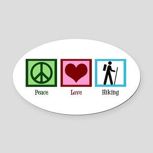 Peace Love Hiking Oval Car Magnet