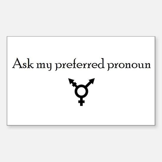 Preferred Pronoun Sticker (Rectangle)