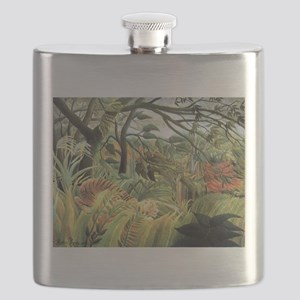 Henri Rousseau tiger in a tropical storm Flask