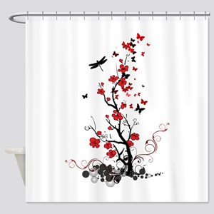 Black and Red Flowers Shower Curtain