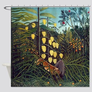Henri Rousseau Tiger and Buffalo Shower Curtain