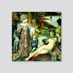 "Gustave Moreau Unicorn Square Sticker 3"" x 3"""