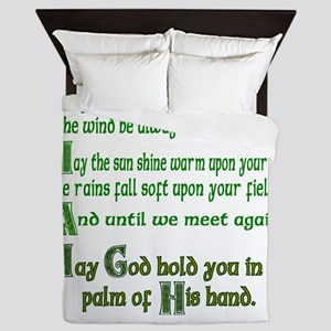 "Irish Blessing ""May the Road"" Queen Duvet"