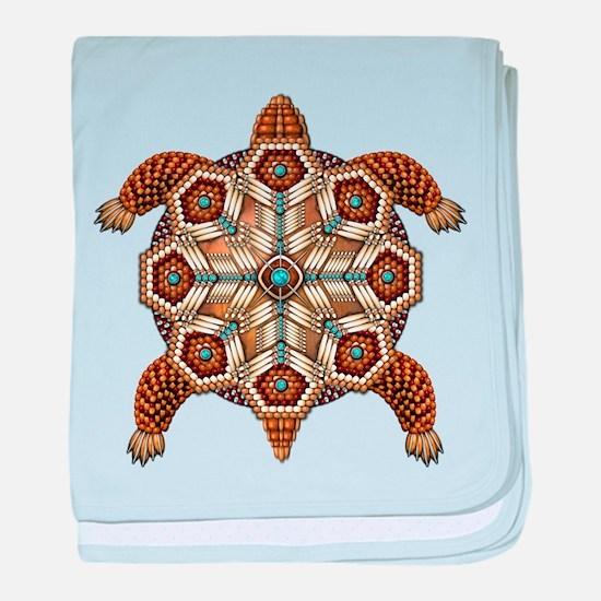 Native American Turtle 02 baby blanket