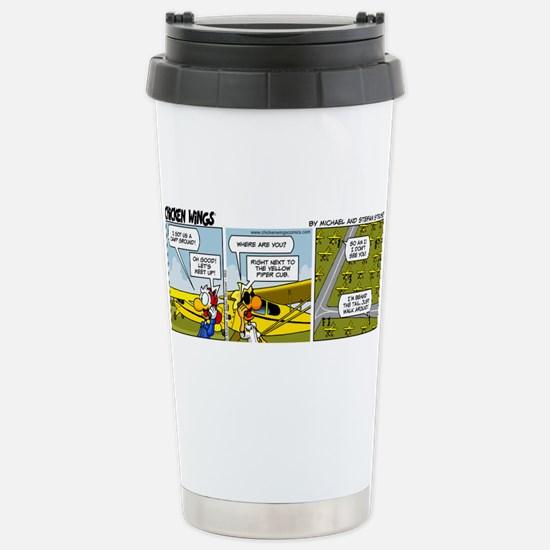 0662 - Yellow Piper Cub Stainless Steel Travel Mug